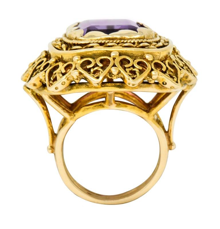 Vintage 13.64 Carat Emerald Cut Amethyst 14 Karat Gold Cocktail Ring For Sale 4