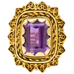 Vintage 13.64 Carat Emerald Cut Amethyst 14 Karat Gold Cocktail Ring