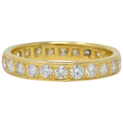 Vintage 1.38 Carat Diamond 18 Karat Gold Eternity Band Ring