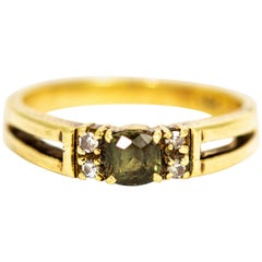 Vintage 14 Carat Gold Alexandrite and Diamond Ring