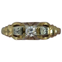 Vintage 14 Carat Gold and Natural Diamond Solitaire Ring