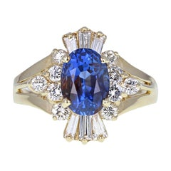 Vintage 14 Carat Gold Blue Sapphire Diamond Cluster Cocktail Engagement Ring