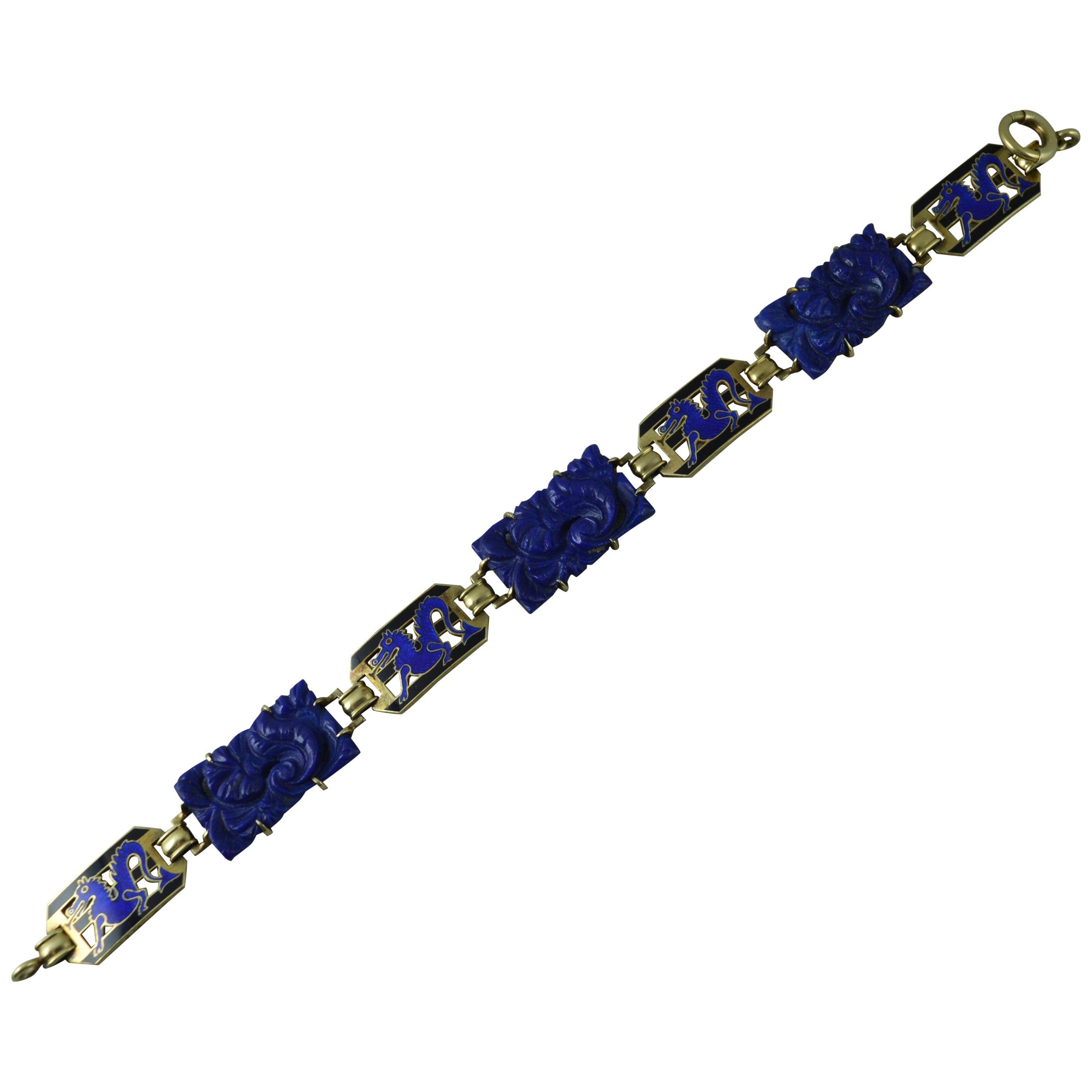 "Vintage 14 Carat Gold Lapis Lazuli and Enamel Bracelet 7 1/2"" Long"