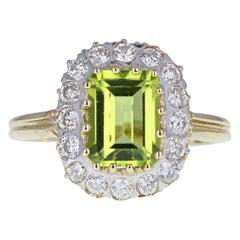 Vintage 14 Carat Gold Peridot Diamond Cluster Cocktail Engagement Ring