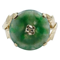 Vintage 14 Carat Yellow Gold Jade Ring