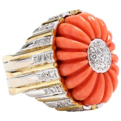 Vintage 14 Karat Bi-Color Gold Coral and Diamond Ring