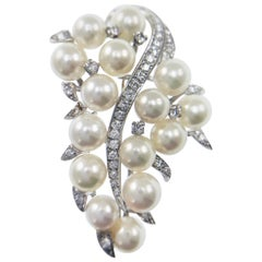 Vintage 14 Karat Diamond Pearl Brooch Pin