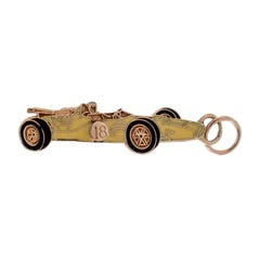 Vintage 14 Karat Enamel Race Car Charm