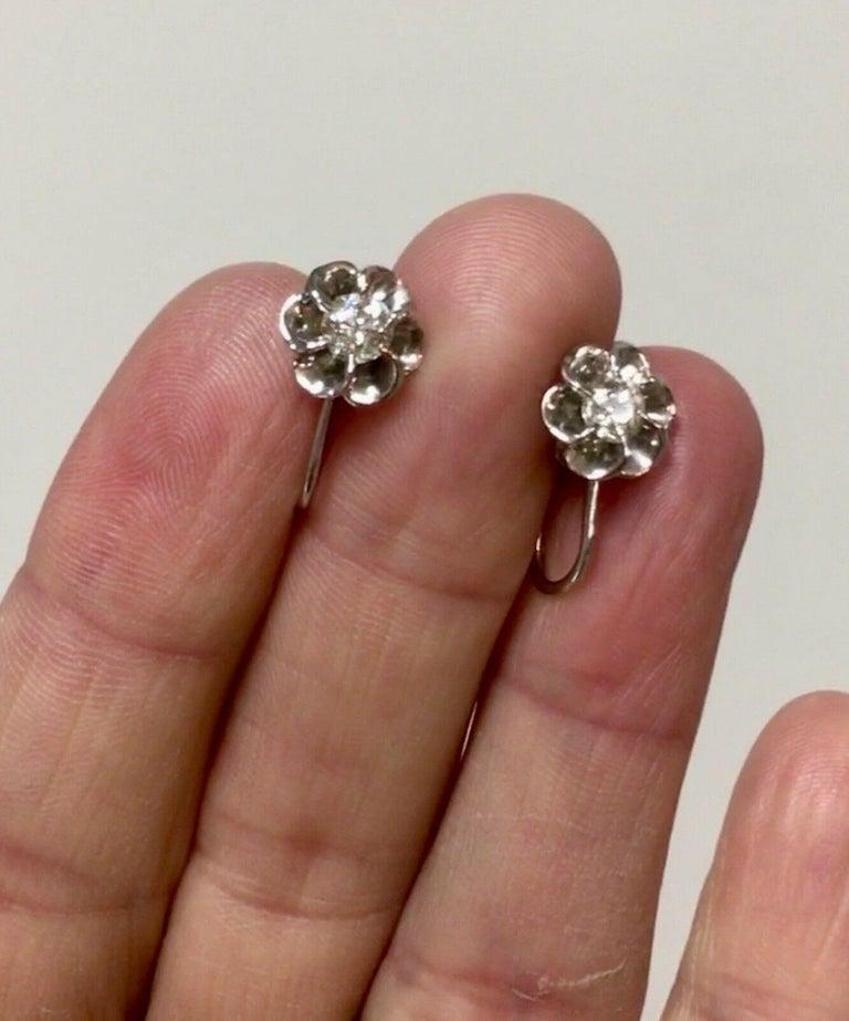 Women's Vintage 14 Karat Gold 0.60 Carat Mine Cut Diamond Studs or Earrings For Sale