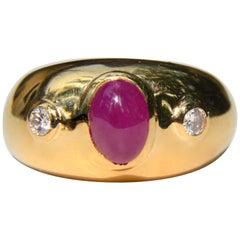 Vintage 14 Karat Gold 1 Carat Ruby Diamond Gypsy Set Band Ring