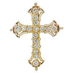 Vintage 14 Karat Gold 3.00 Carat Prong Round Large Diamond Cross Pin or Pendant