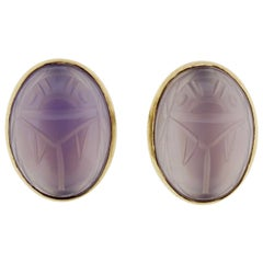 Vintage 14 Karat Gold and Amethyst Scarabs Screw Back Earrings