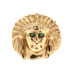Vintage 14 Karat Gold and Emerald Indian Head Ring