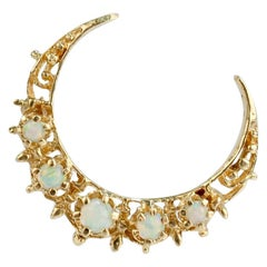 Vintage 14 Karat Gold and Opal Crescent Moon Brooch or Pin
