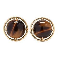 Vintage 14 Karat Gold and Tiger's Eye Earrings