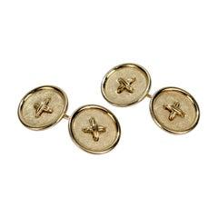 Vintage 14 Karat Gold Button Form Cufflinks
