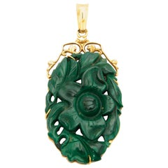 Vintage 14 Karat Gold Carved Green Jade Pendant