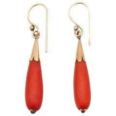 Vintage 14 Karat Gold Red Coral Pendant Drop Earrings
