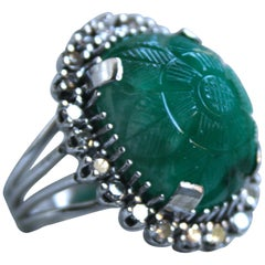 Vintage 14 Karat Gold Diamond and Carved Cabochon Emerald Halo Ring, 31.10 Carat