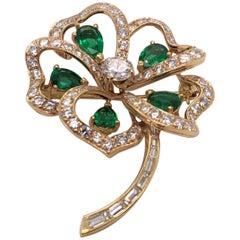 Vintage 14 Karat Gold Diamond and Emerald 4-Leaf Clover Pin