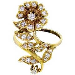 Vintage 14 Karat Gold Diamond Victorian Flower Floral Ring