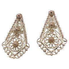 Vintage 14 Karat Gold Etruscan Revival Style Filigree Earrings