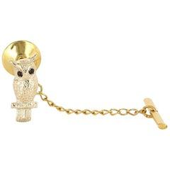Vintage 14 Karat Gold Garnet Men's Owl Animal Bird Tie Tac Pin Estate Jewelry