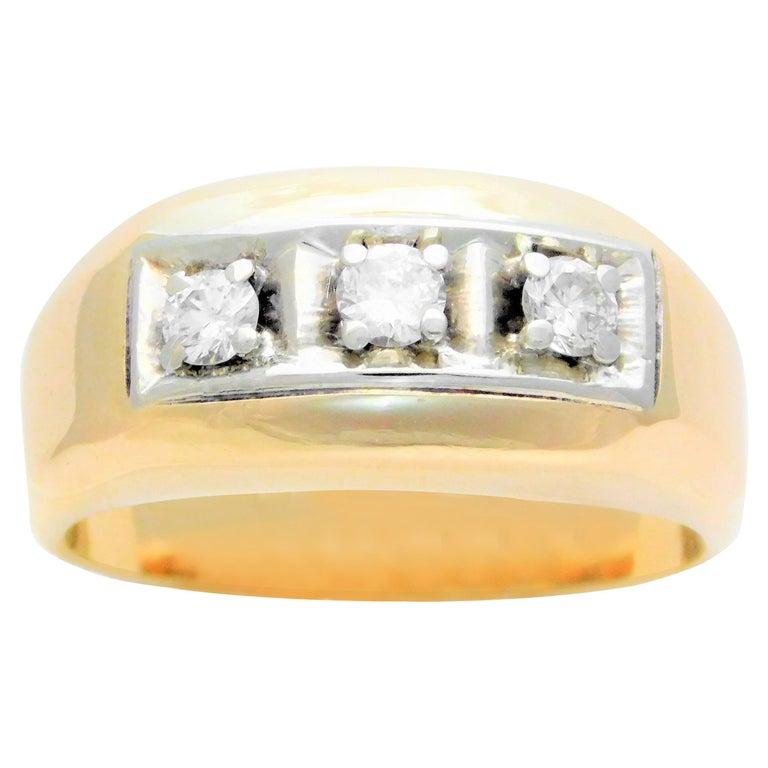 cc46a6bdeff0d Vintage 14 Karat Gold Gentleman's Three-Stone Diamond Ring