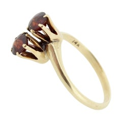 Vintage 14 Karat Gold and High Set 'Toi et Moi' Double Garnet Ring