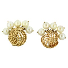 Vintage 14 Karat Gold Ladies Clip-On Earrings with Freshwater Pearls, 1970s