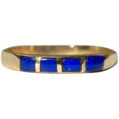 Vintage 14 Karat Gold Lapis Lazuli Navajo Inlay Band Ring