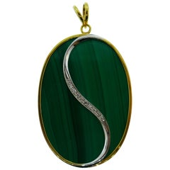Vintage 14 Karat Gold, Malachite and Diamond Pendantm circa 1970s Yin and Yang