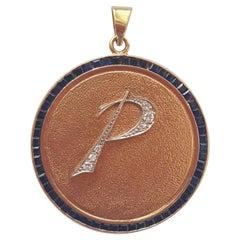 "Vintage 14 Karat Gold Medallion Initial ""P"" Pendant, Diamonds and Sapphires"