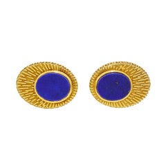 Vintage 14 Karat Gold Men's Lapis Cufflinks by La Triomphe 14.95 Gram Full Size