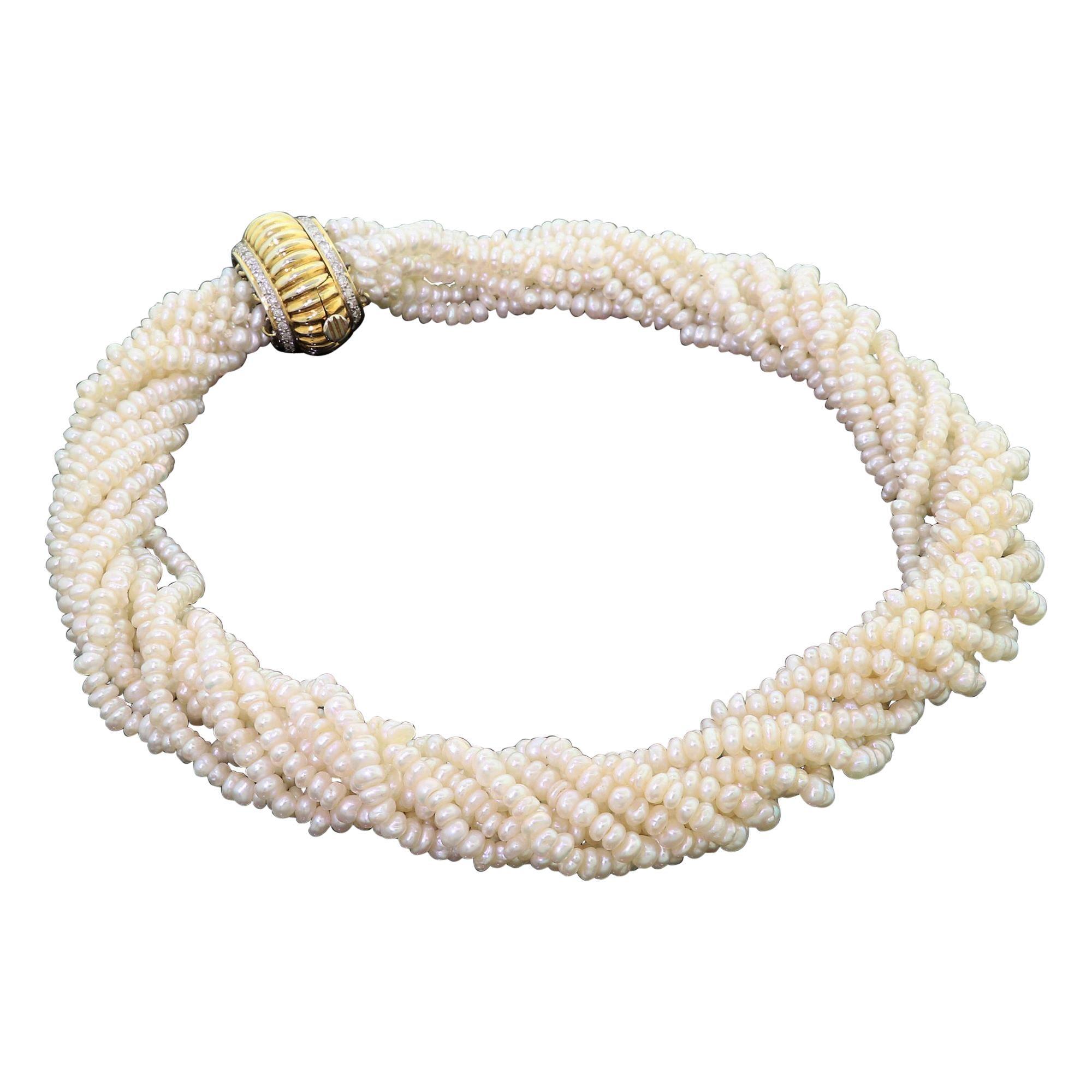 Vintage 14 Karat Gold Multi-Strand Pearl and Diamond Twisted Design Necklace 80G