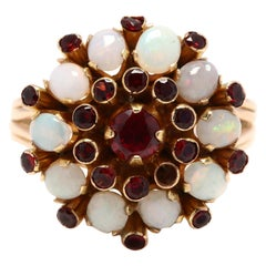 Vintage 14 Karat Gold Opal and Garnet Cluster Ring