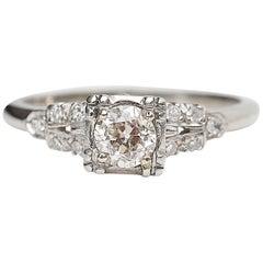 Vintage 14 Karat Gold Retro 0.42 Carat Engagement Ring, #NCR278, circa 1950s