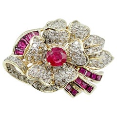 Vintage 14 Karat Gold Ruby and Diamond Floral Pin