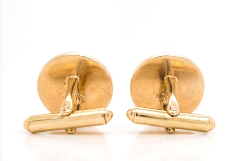 Men's Vintage 14 Karat Gold Scales of Justice Cuff Links For Sale
