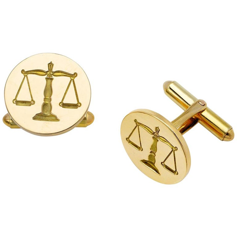 Vintage 14 Karat Gold Scales of Justice Cuff Links For Sale