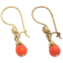 Vintage 14 Karat Gold Small Coral Ball Earrings