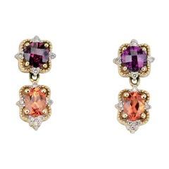 Vintage 14 Karat Gold Two-Color Garnet and Diamond Drop Earrings, 1980s