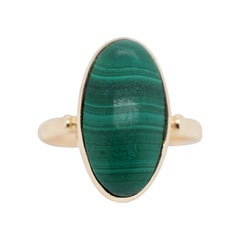 Vintage 14 Karat Gold with Marquise Cut Malachite Solitaire Ring