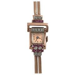 Vintage 14-Karat Ladies Rose Gold Diamond and Ruby Wristwatch, circa 1940s