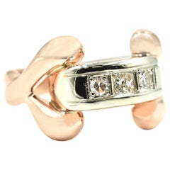 Vintage 14 Karat Rose Gold 0.25 Carat Diamond Fashion Ring
