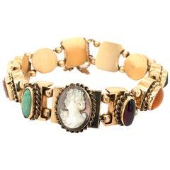 Vintage 14 Karat Slide Bracelet or Cameo and Gems