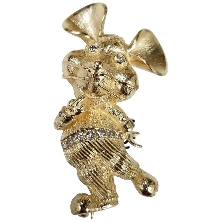 "Vintage 14 Karat ""Topogigio"" Mouse Diamond Brooch"