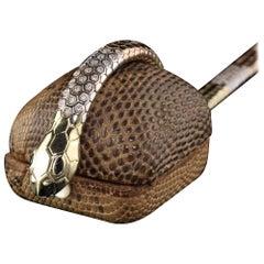 Vintage 14 Karat Tri Tone Gold Diamond Snake Bracelet