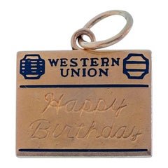 Vintage 14 Karat Western Union Happy 18th Birthday Charm