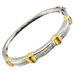 Vintage 14 Karat White and Yellow Gold Princess Cut Diamond Bangle Bracelet